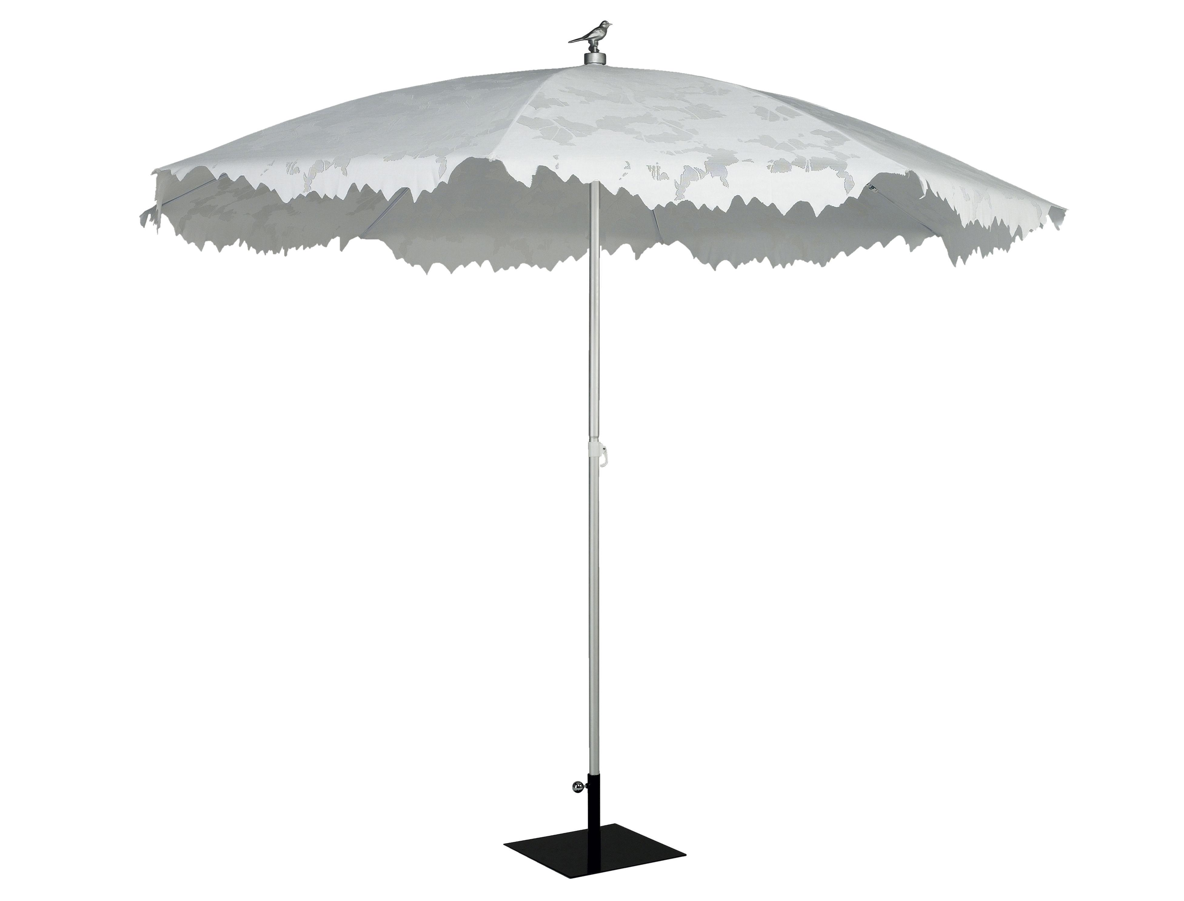 Outdoor - Parasols - Parasol Shadylace XL Ø 350 cm - Symo - Parasol blanc / mât alu / oiseau argent - Aluminium anodisé, Toile polyester