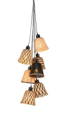 Lighting - Pendant Lighting - Kalimantan Pendant - / 7 lampshades by GOOD&MOJO - Black & natural - Bamboo
