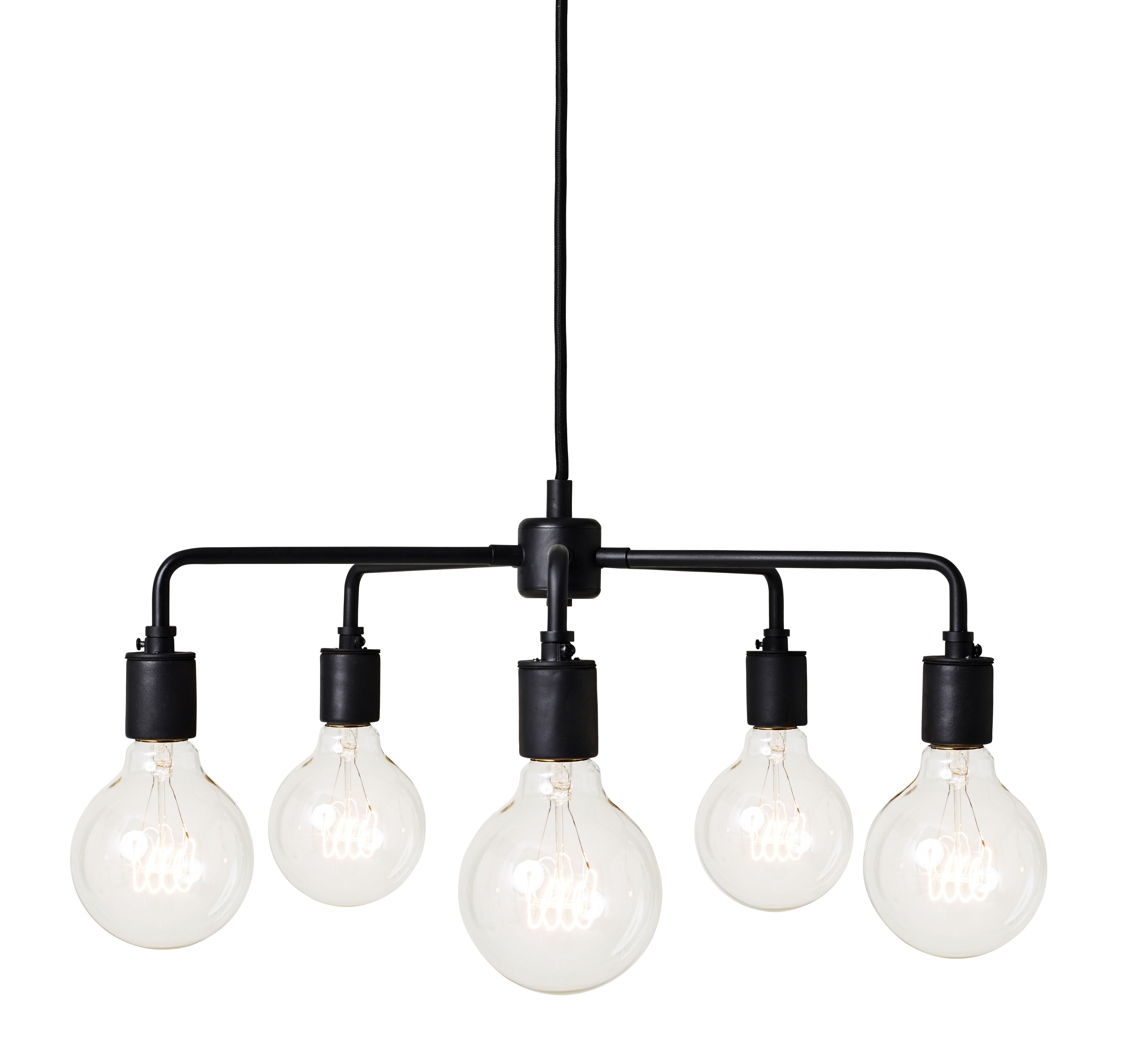 Leuchten - Pendelleuchten - Leonard Chandelier Pendelleuchte / Ø 46 cm - Menu - Schwarz - Porzellan, Stahl