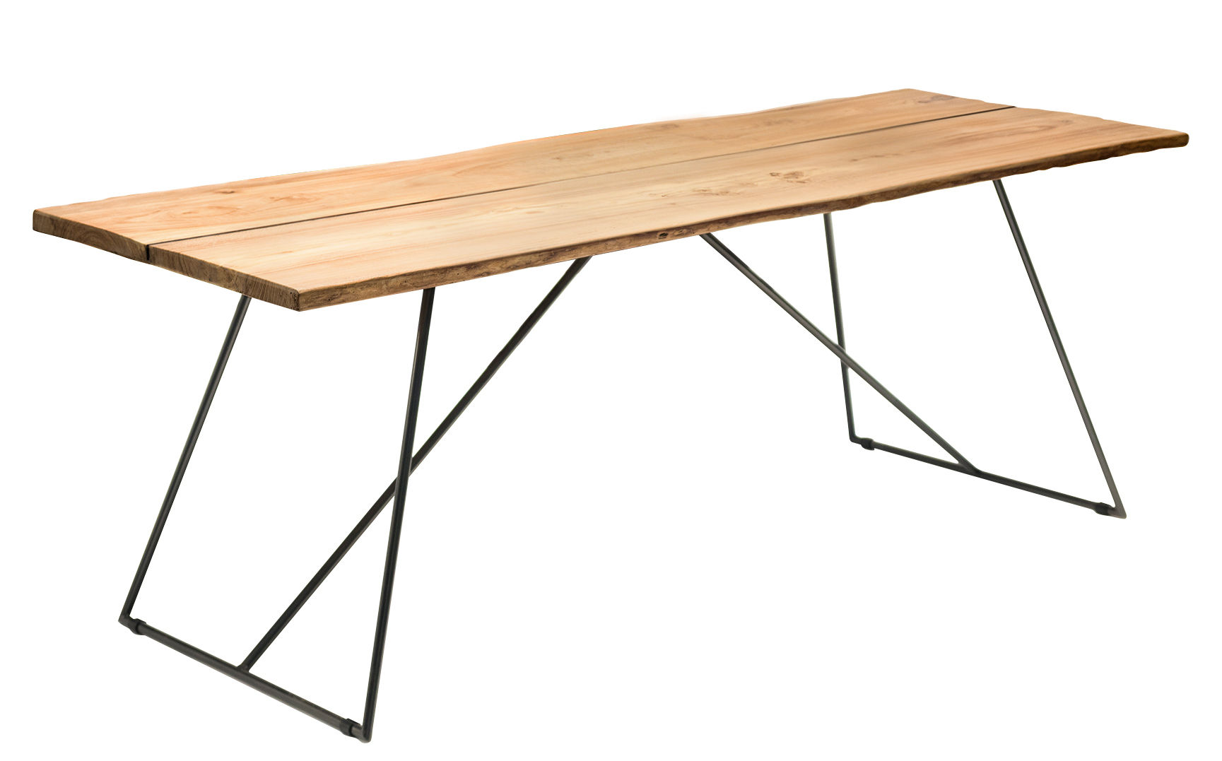Furniture - Dining Tables - Old Times Rectangular table - / 190 x 70 cm by Zeus - Natural wood / Black base - Painted steel, Solid olive tree