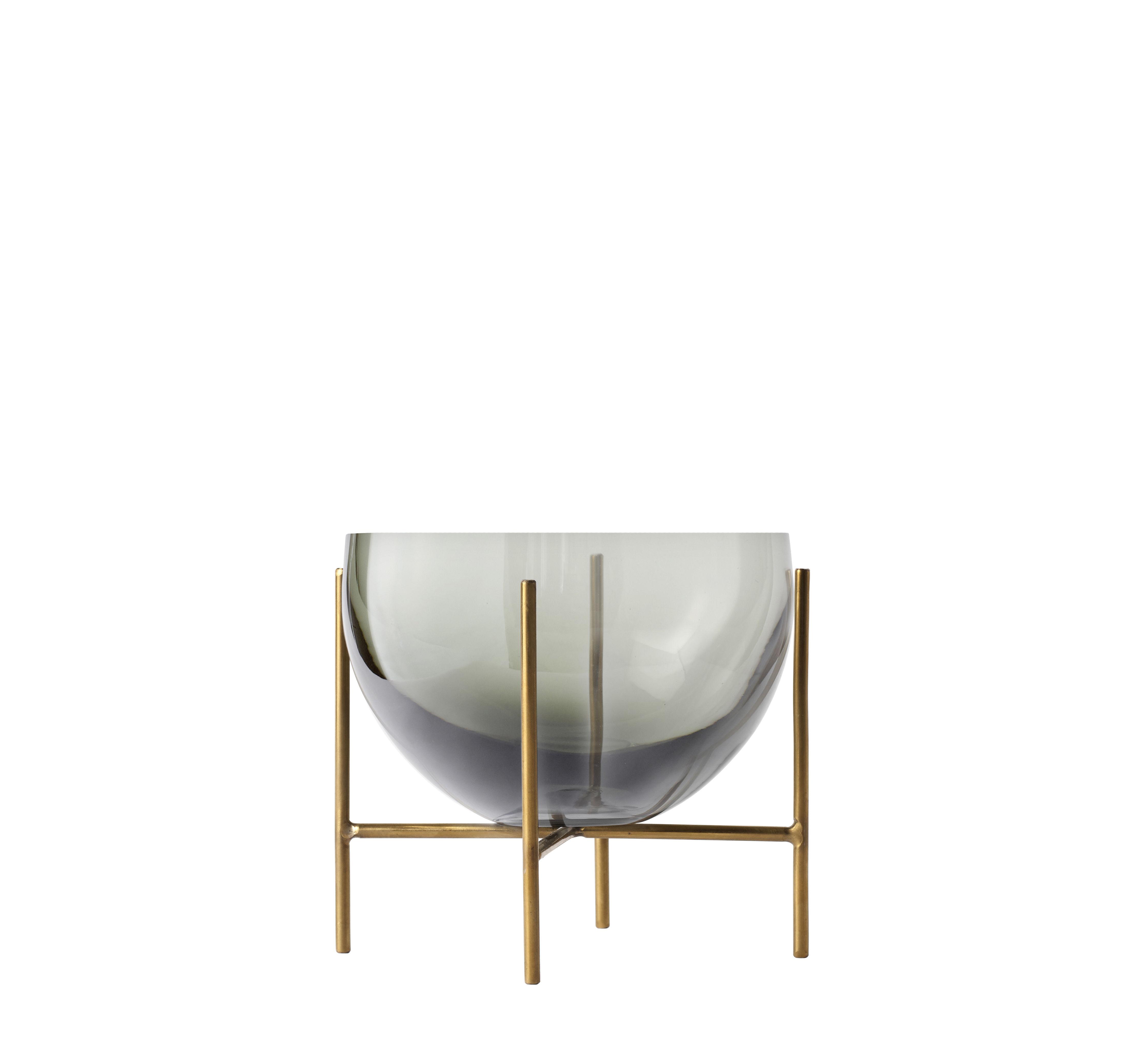 Tischkultur - Salatschüsseln und Schalen - Echasse Small Schale / Ø 13 cm x H 14 cm - Menu - Rauchglas & Messing - Glas, Laiton massif