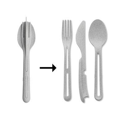 Tavola - Posate - Set Klikk - / 3 Posate clipsabili - Plastica organica di Koziol - Grigio organico - Plastique organique