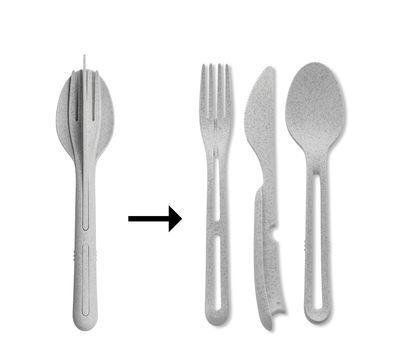 Tableware - Cutlery - Klikk Set - / 3 clip-together cutlery items - Organic plastic by Koziol - Organic grey - Organic plastic