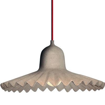Illuminazione - Lampadari - Sospensione Egg of Columbus - / Cartone riciclato - Ø 35 cm di Seletti - Cartone naturale / Cavo rosso - Carton recyclé