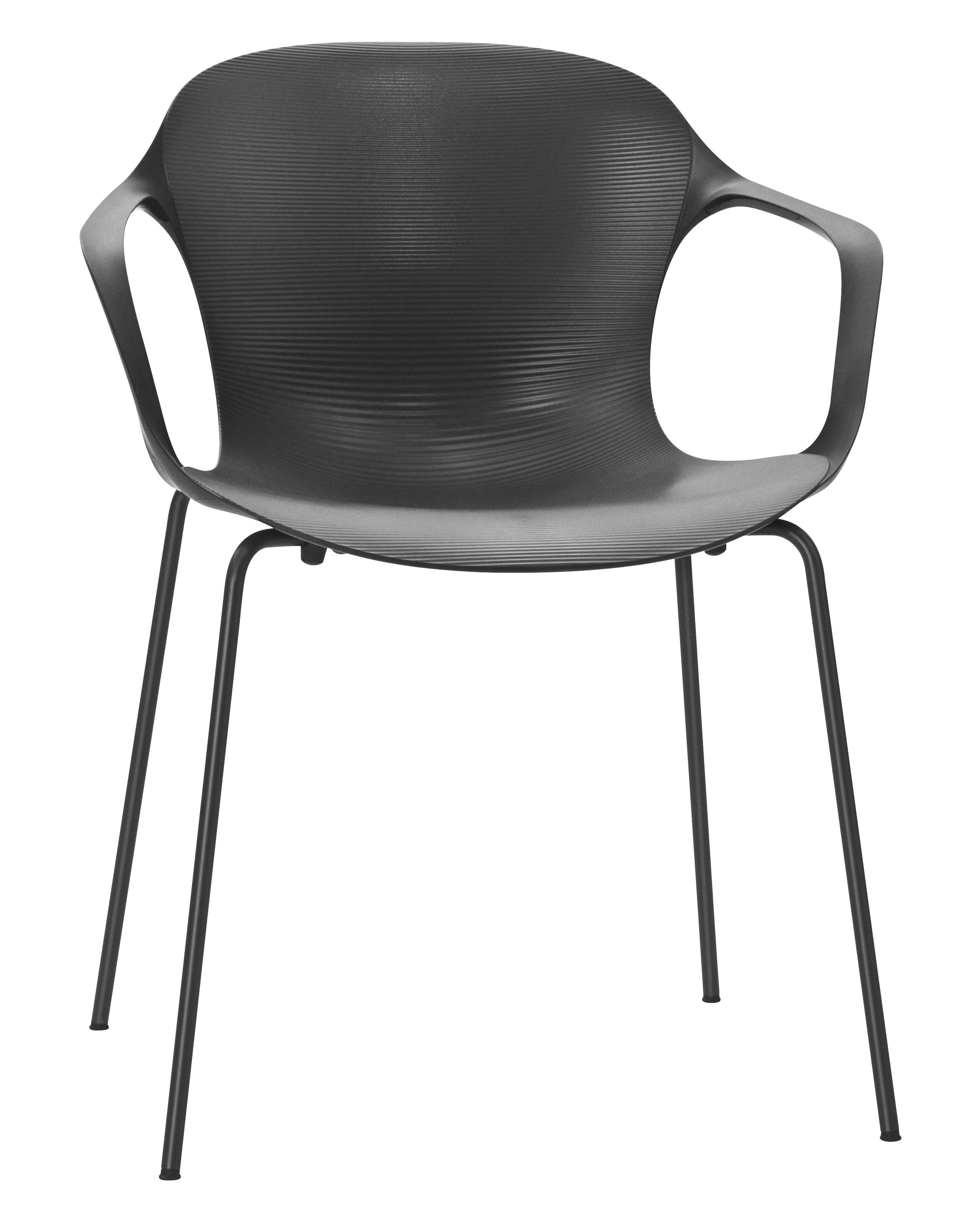 Furniture - Chairs - Nap Stackable armchair - Plastic shell & metal legs by Fritz Hansen - Grey - Lacquered steel, Polyamide