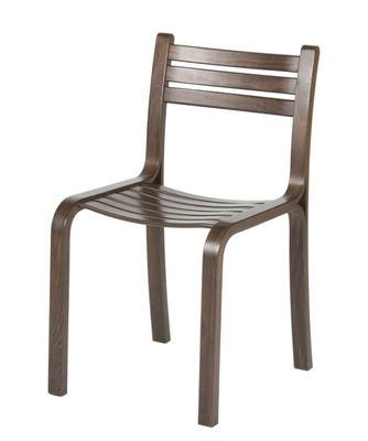 Furniture - Chairs - Gabi Stacking chair - / Stained beechwood by Objekto - Walnut - Lamellé-collé de hêtre teinté