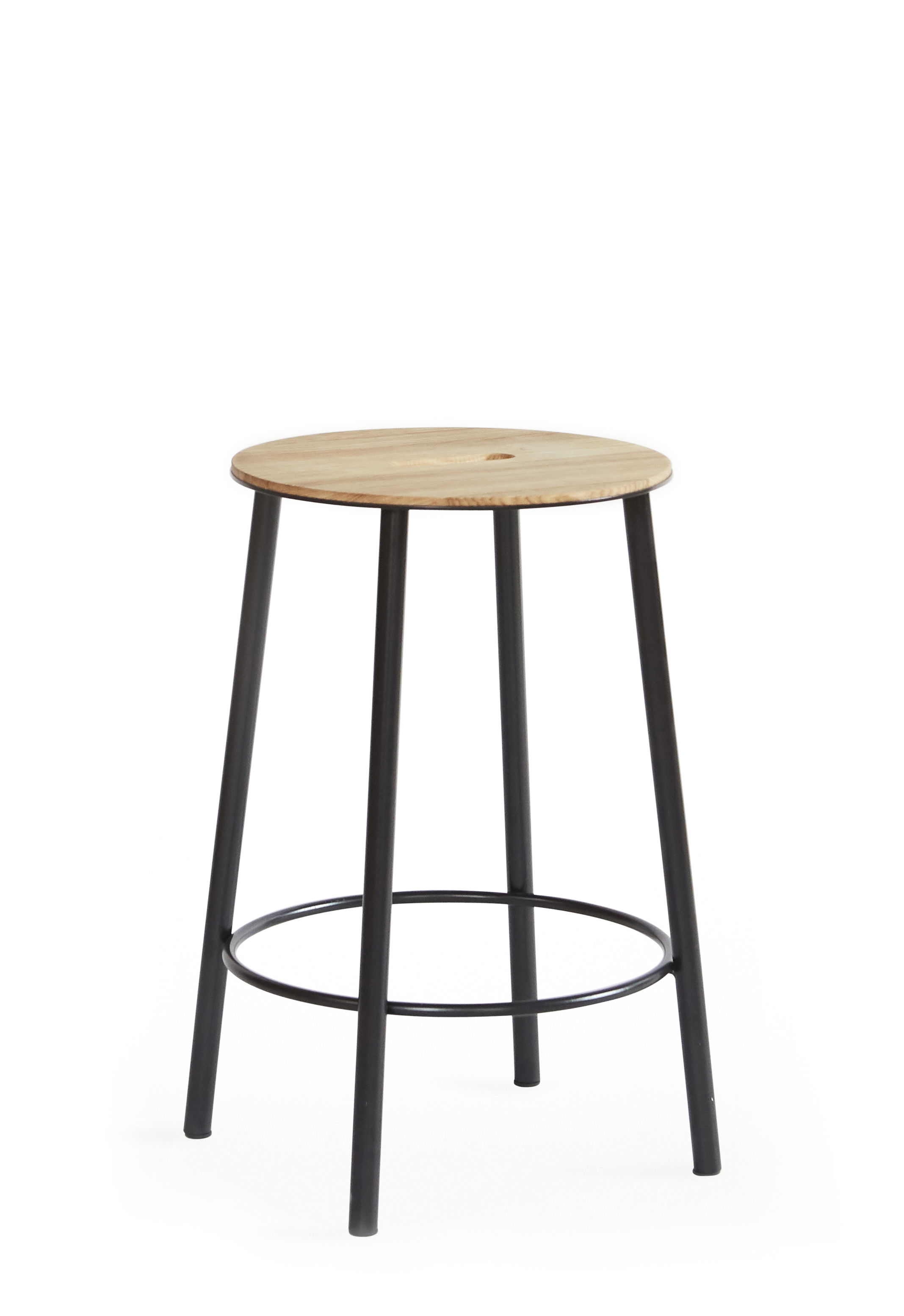 Furniture - Stools - Adam R031 Stool - / H 50 cm by Frama  - Oak & black - Epoxy lacquered steel, Oiled oak