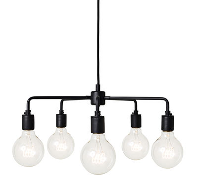 Luminaire - Suspensions - Suspension Leonard Chandelier / Ø 46 cm - Menu - Noir - Acier, Porcelaine