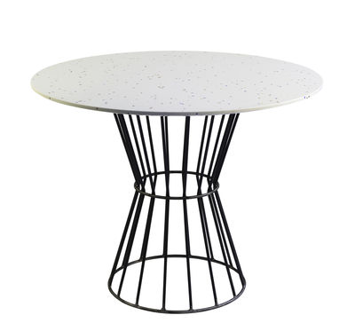 Table Confetti 120 / Terrazzo & métal grillagé - Houtique blanc,noir en métal