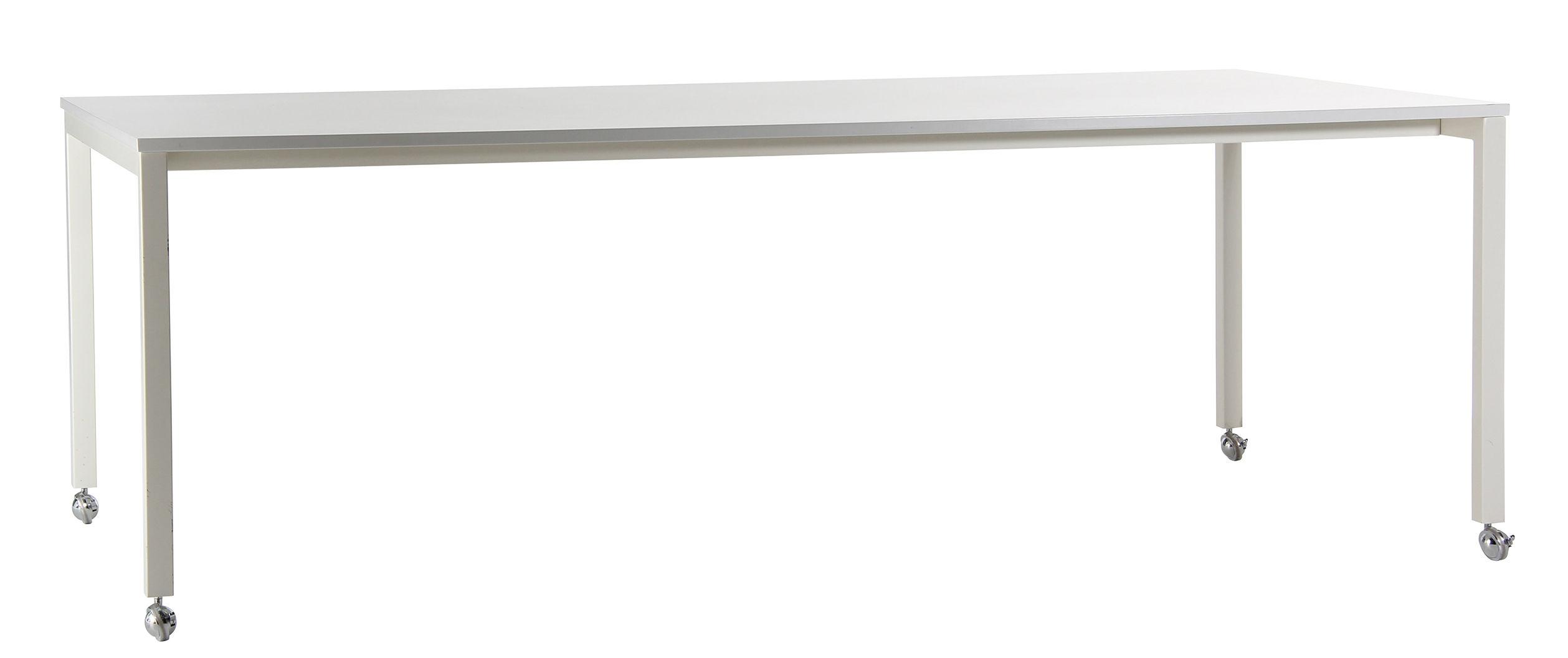 Mobilier - Tables - Table Panton Move / Bureau - Roulettes - 220 x 110 cm - Verpan - Blanc - Acier, MDF