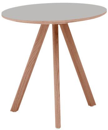 Mobilier - Tables - Table ronde Copenhague n°20 / Ø 90 - Hay - Gris / Pied chêne - Chêne teinté, Linoléum