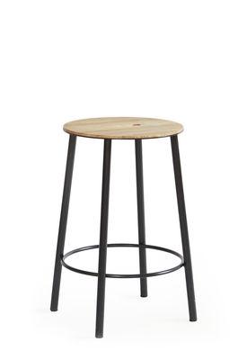 Mobilier - Tabourets bas - Tabouret Adam R031 / H 50 cm - Indoor - Frama  - H 50 cm / Chêne & noir - Acier laqué époxy, Chêne huilé