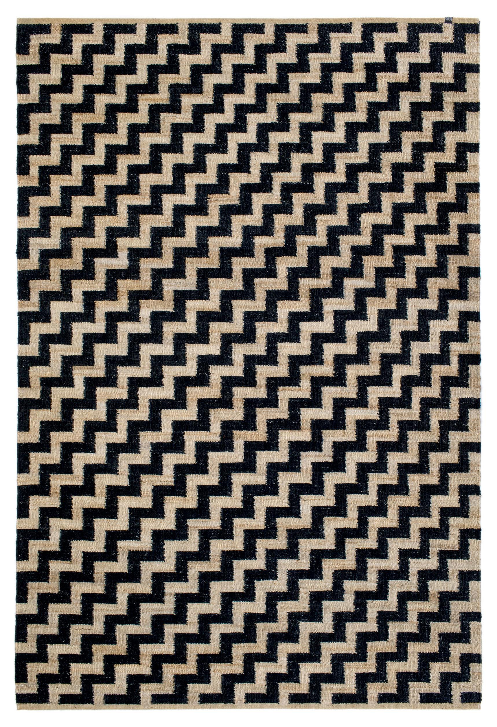 Tapis Gunnel Chanvre 170 X 250 Cm Noir Chanvre Naturel Brita
