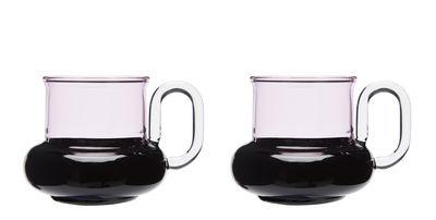 Tasse à thé Bump / Set de 2 - Verre soufflé - Tom Dixon rose,noir en verre