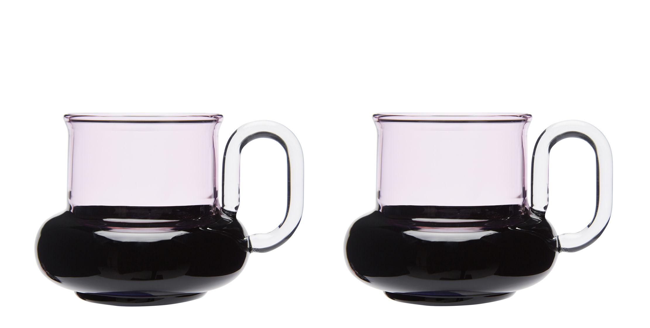 Tischkultur - Tassen und Becher - Bump Teetasse / 2er-Set - mundgeblasenes Glas - Tom Dixon - Rosa & schwarz - Verre borosilicate soufflé