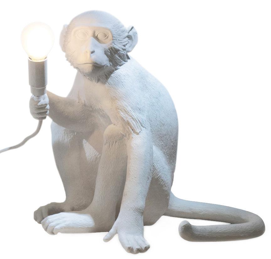 Leuchten - Tischleuchten - Monkey Sitting Tischleuchte / H 32 cm - Seletti - Weiß - Harz