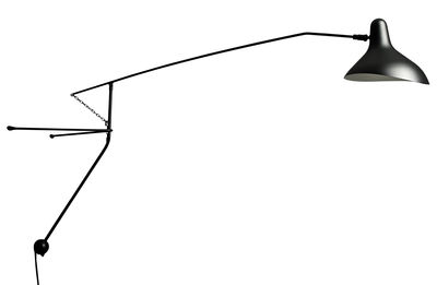 Lighting - Wall Lights - Mantis BS2 Wall light by DCW éditions - Black / Black lampshade - Aluminium, Steel