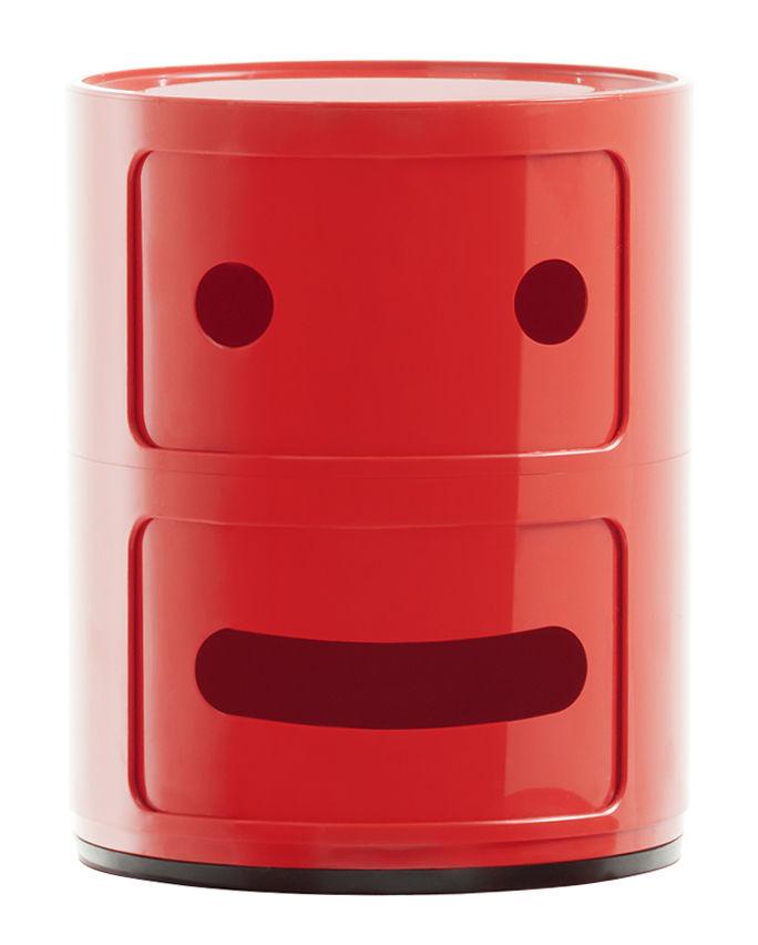Möbel - Möbel für Kinder - Componibili Smile N°2 Ablage / 2 Schubladen - H 40 cm - Kartell - N° 2 / rot - ABS