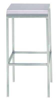 Furniture - Bar Stools - 20-06 Bar stool - Aluminium - H 60 cm by Emeco - Brushed aluminium - Aluminium