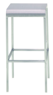 Furniture - Bar Stools - 20-06 Bar stool - Aluminium - H 60 cm by Emeco - Brushed aluminium - Recycle aluminium