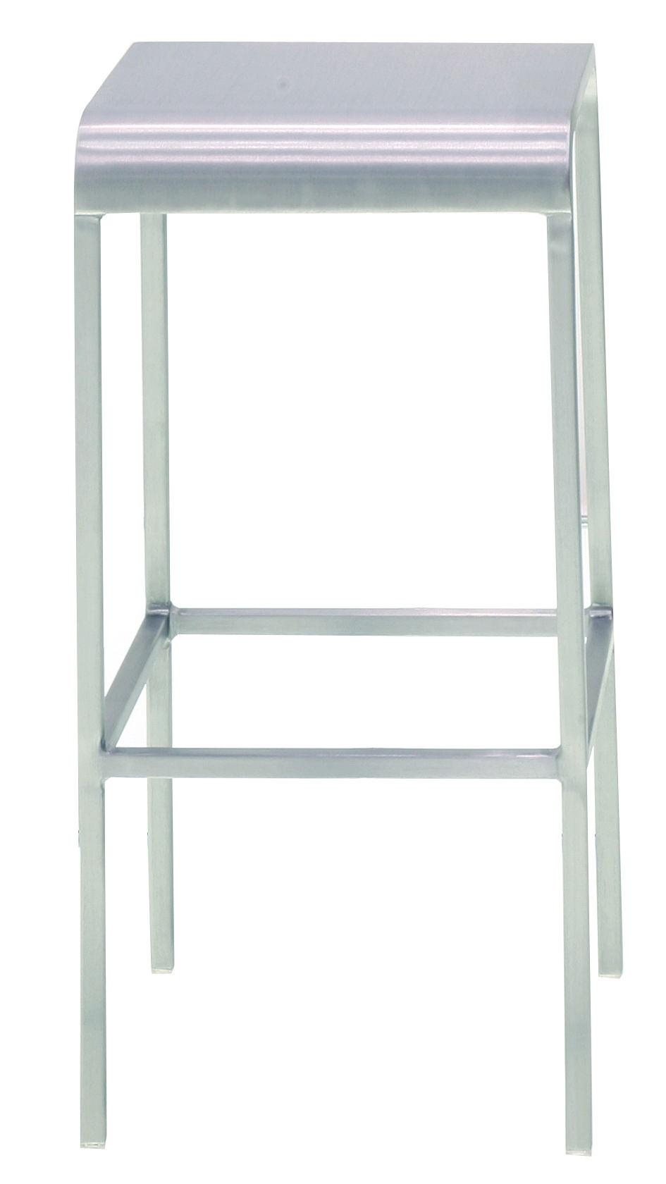 Furniture - Bar Stools - 20-06 Bar stool - Aluminium - H 60 cm by Emeco - Brushed aluminium - Aluminium recyclé