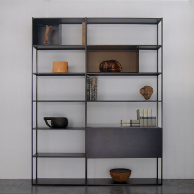 Furniture - Bookcases & Bookshelves - Easy Irony Bookcase - / With drawer units - L 178 x H 226 cm by Zeus - Copper black / Bronze - Epoxy painted steel