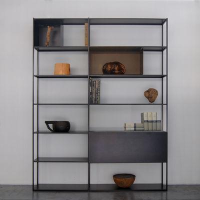 Möbel - Regale und Bücherregale - Easy Irony Bücherregal / mit Schrankelementen - L 178 cm x H 226 cm - Zeus - Schwarzbraun / bronzefarben - Acier peint époxy