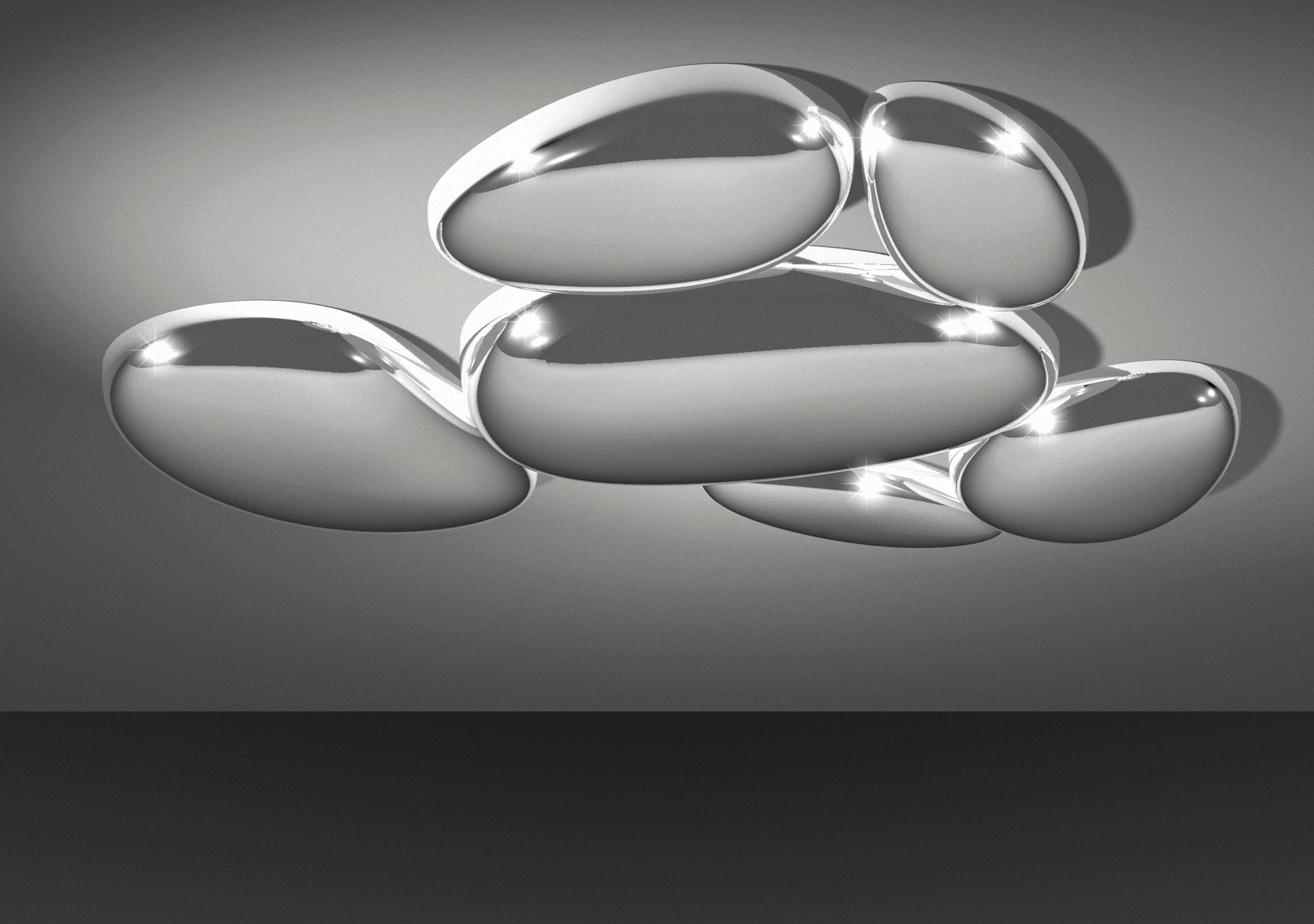 Lighting - Ceiling Lights - Skydro Ceiling light - Electrified module by Artemide - Chrome - ABS, Cast aluminium