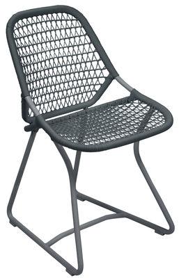 Chaise Sixties / Assise souple plastique tressé - Fermob gris orage,ardoise en matière plastique