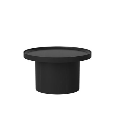 Furniture - Coffee Tables - Plateau Medium Coffee table - / Ø 61 x H 34 cm - Removable top by Bolia - Black - Moulded laminate, Solid oak