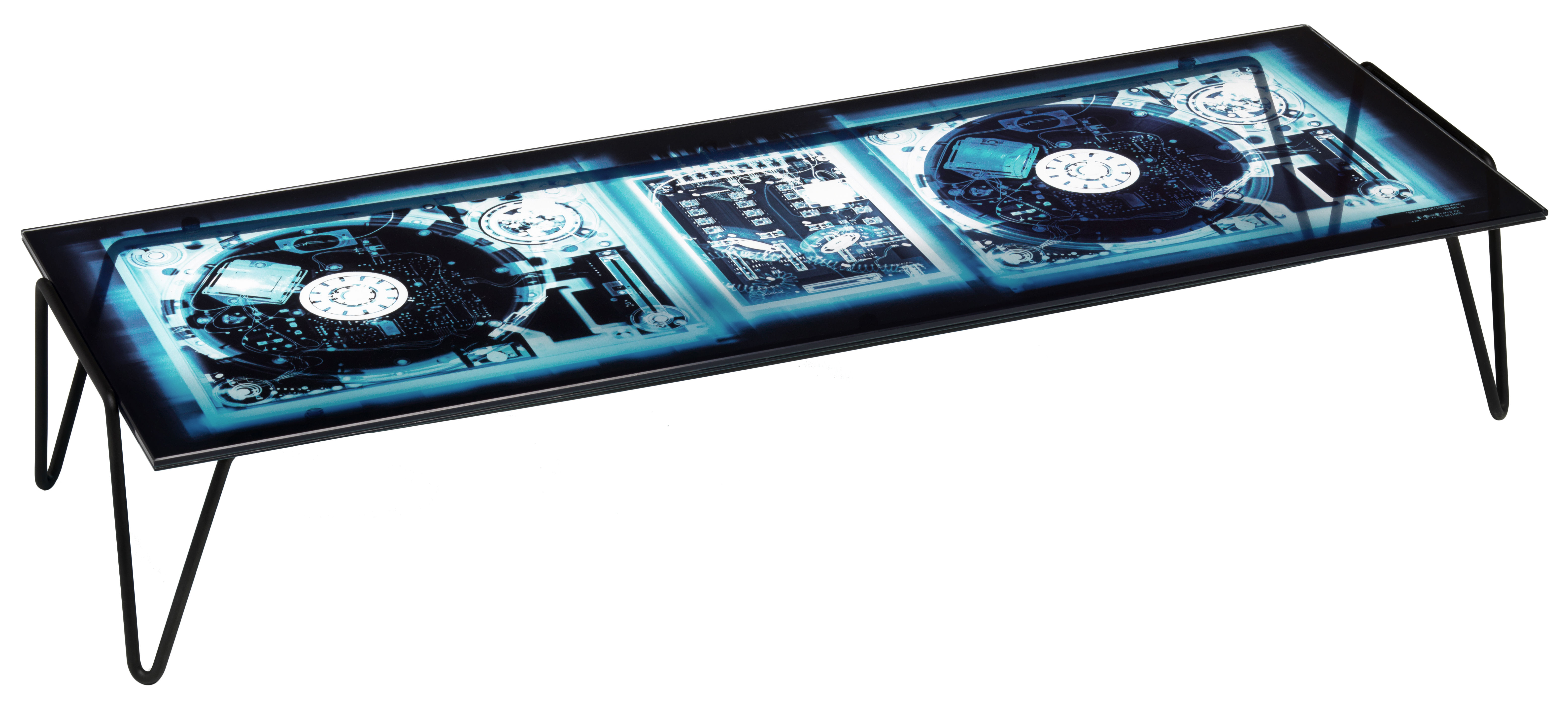 Furniture - Coffee Tables - Xradio 2 Disk Coffee table by Diesel with Moroso - Dj console / Blue - Glass, Lacquered steel