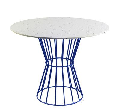 Table ronde Confetti 120 / Terrazzo & métal grillagé - Houtique blanc,bleu en métal