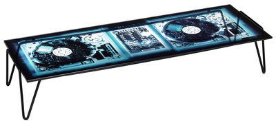 Möbel - Couchtische - Xradio 2 Disk Couchtisch - Diesel with Moroso - Motiv DJ-Konsole - Hintergrund blau - Glas, lackierter Stahl