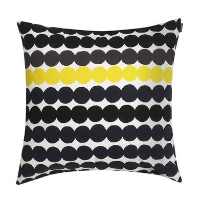 Decoration - Cushions & Poufs - Räsymatto Cushion - / 50 x 50 cm by Marimekko - Räsymatto / Noir & jaune - Cotton