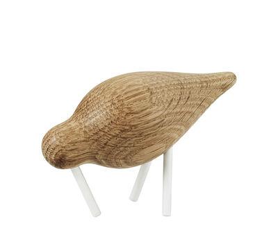 Interni - Oggetti déco - Decorazione Oiseau Shorebird S / L 11,5 cm x 7,5 cm - Normann Copenhagen - Quercia / Bianco - Acciaio laccato, Rovere massello