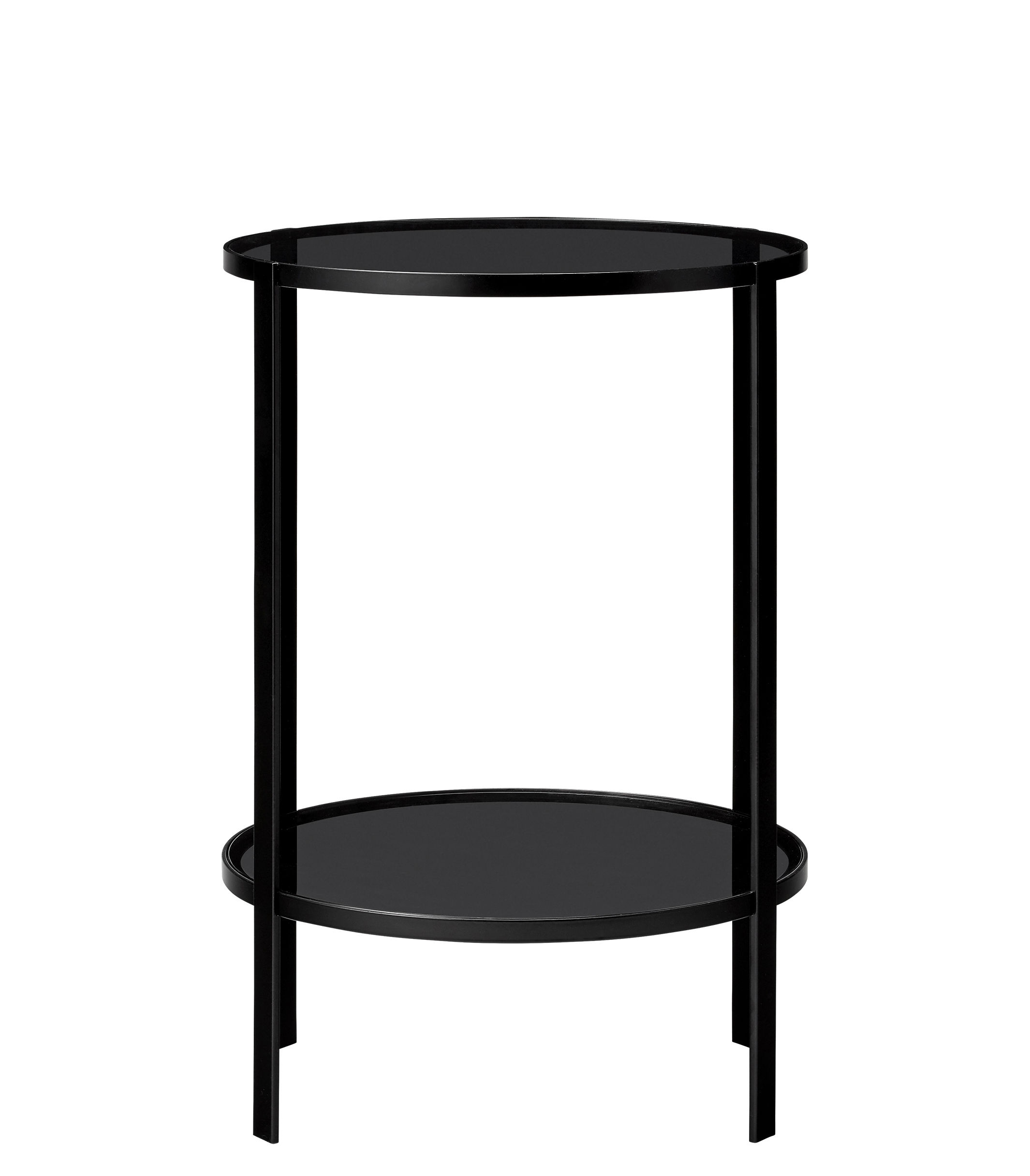 Furniture - Coffee Tables - Fumi End table - / Ø 40 x H 58 cm by AYTM - Black - Lacquered iron, Soak glass