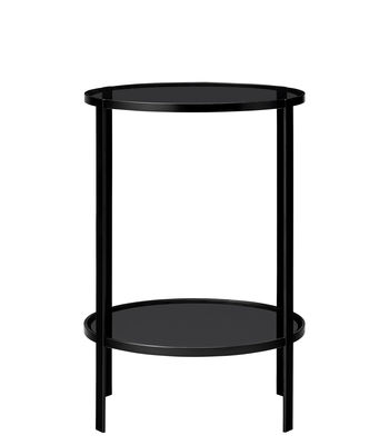 Furniture - Coffee Tables - Fumi End table - / Ø 40 x H 58 cm by AYTM - Noir - Lacquered iron, Soak glass