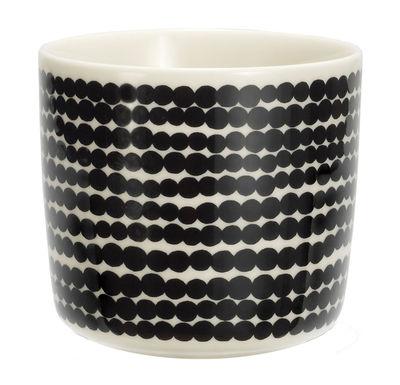 Tischkultur - Tassen und Becher - Siirtolapuutarha Kaffeetasse ohne Henkel - Marimekko - Räsymatto - Schwarz & weiß - emailliertes Porzellan
