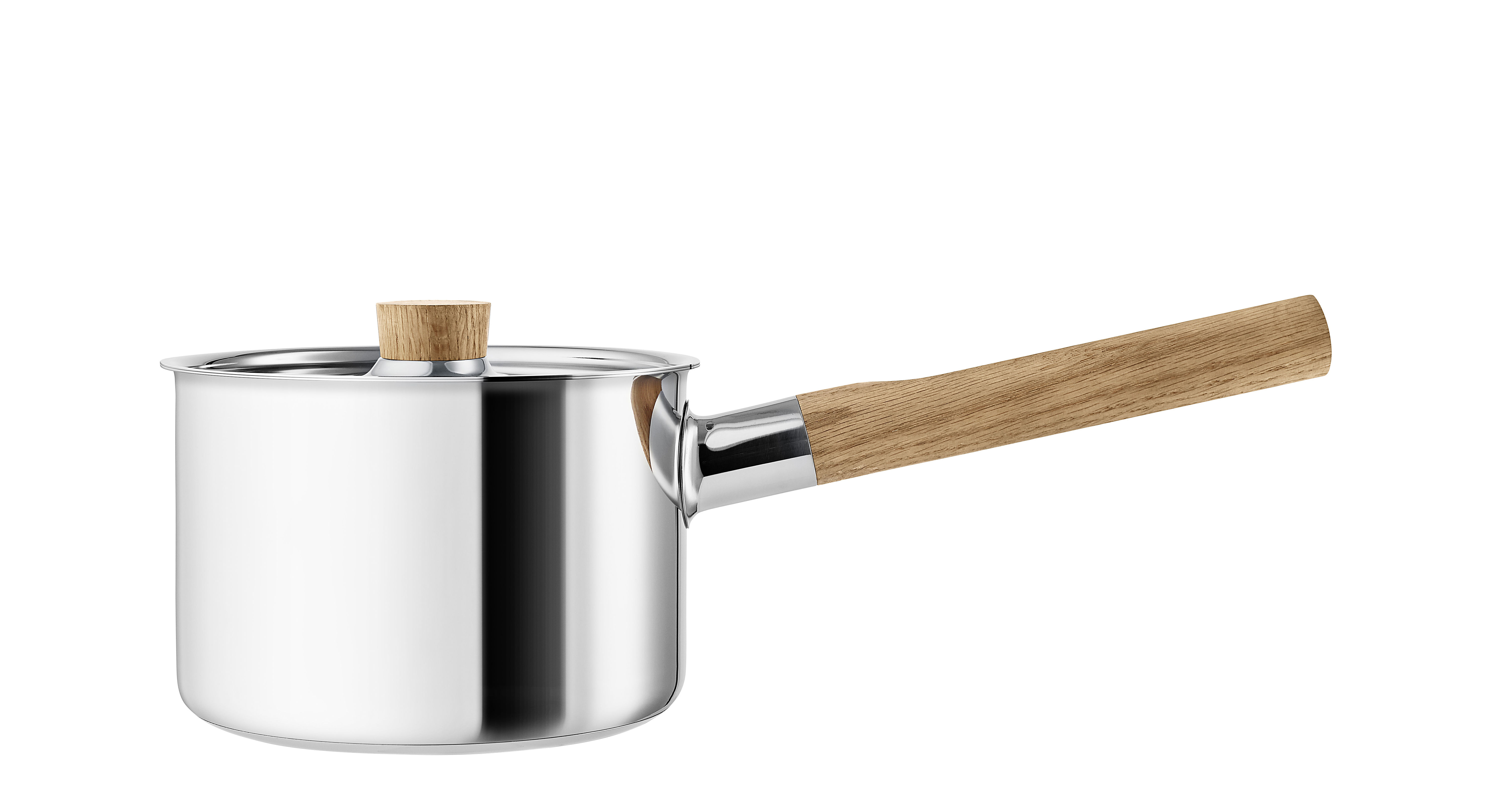 Küche - Pfannen, Koch- und Schmortöpfe - Nordic Kitchen Kochtopf / 2 l - mit Deckel - Eva Solo - Edelstahl / Eiche - Eiche, rostfreier Stahl