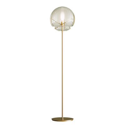 Illuminazione - Lampade da terra - Lampada a stelo Vitruvio - / Vetro soffiato - Ø 40 x H 177 cm di Artemide - Ottone & trasparente - Ottone, vetro soffiato