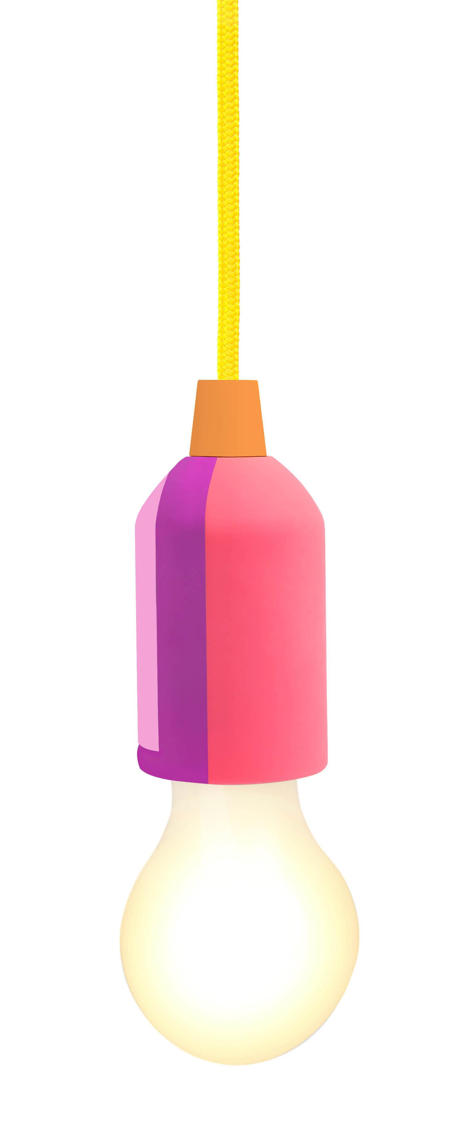 Interni - Per bambini - Lampada senza fili Pull Cord - / LED - Cavo tessuto da appendere di Sunnylife - Arcobaleno / Rosa & viola - ABS, Plastique opalin, Tessuto