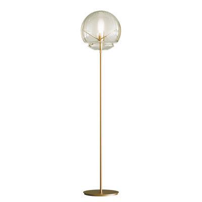 Luminaire - Lampadaires - Lampadaire Vitruvio / Verre soufflé - Ø 40 x H 177 cm - Artemide - Laiton & transparent - Laiton, Verre soufflé