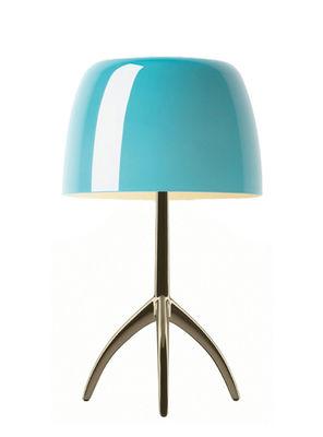 Lampe de table Lumière Piccola / Variateur - H 35 cm - Foscarini turquoise,champagne en métal
