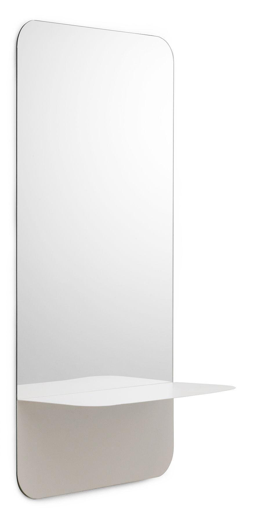 Mobilier - Etagères & bibliothèques - Miroir mural Horizon   Vertical / Etagère - L 40 x H 80 cm - Normann Copenhagen - Etagère blanche - Acier laqué, Verre