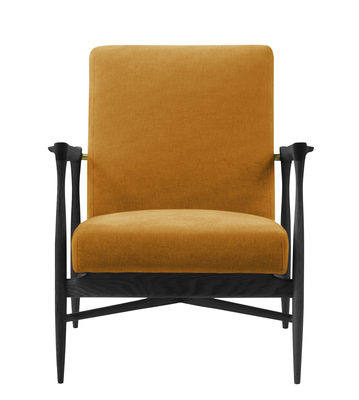Furniture - Armchairs - Floating Padded armchair - / Fabric by RED Edition - Ochre / Black - Cotton, High resilience foam, Tinted beechwood