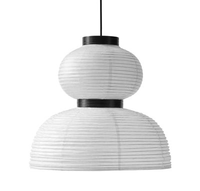 Lighting - Pendant Lighting - Formakami JH4 Pendant - Ø 50 x H 48 cm by &tradition - Ivory white / Black - Fabric, Oak, Rice paper