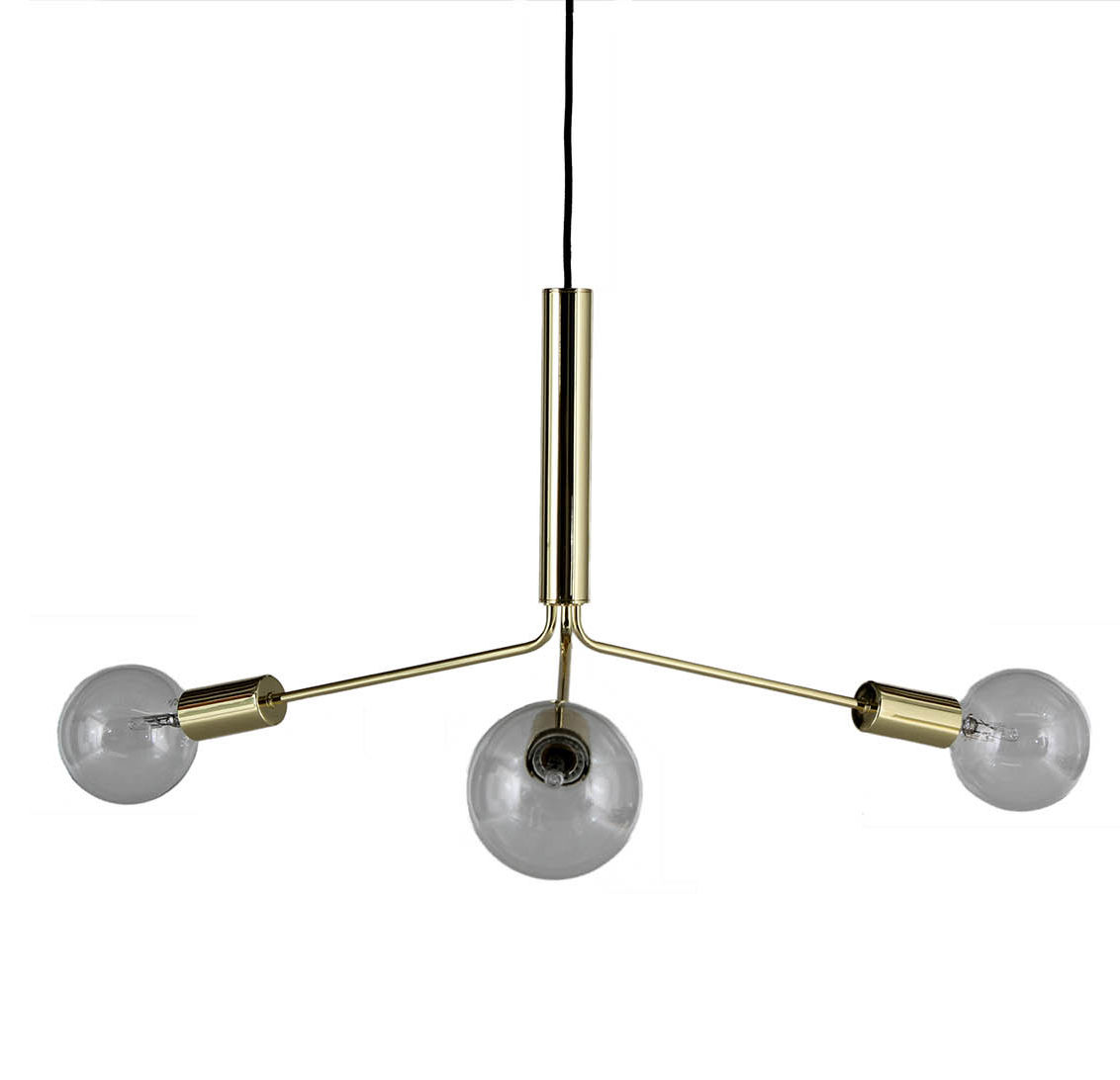 Lighting - Pendant Lighting - Grand Metro Pendant - Arm L 27 cm by Frandsen - Brushed brass - Painted metal