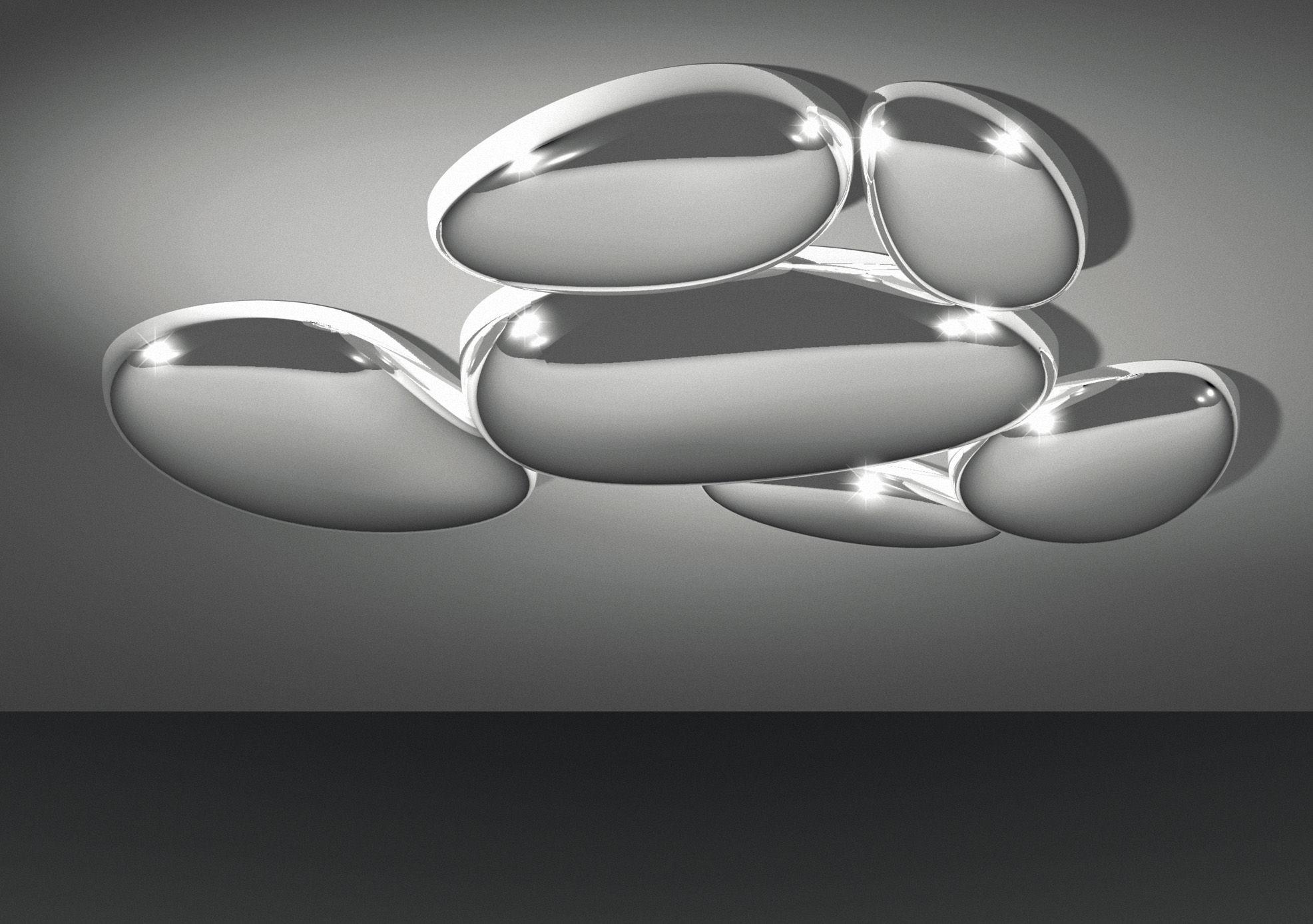 Luminaire - Plafonniers - Plafonnier Skydro module non électrifié - Artemide - Chrome brillant - ABS, Fonte d'aluminium