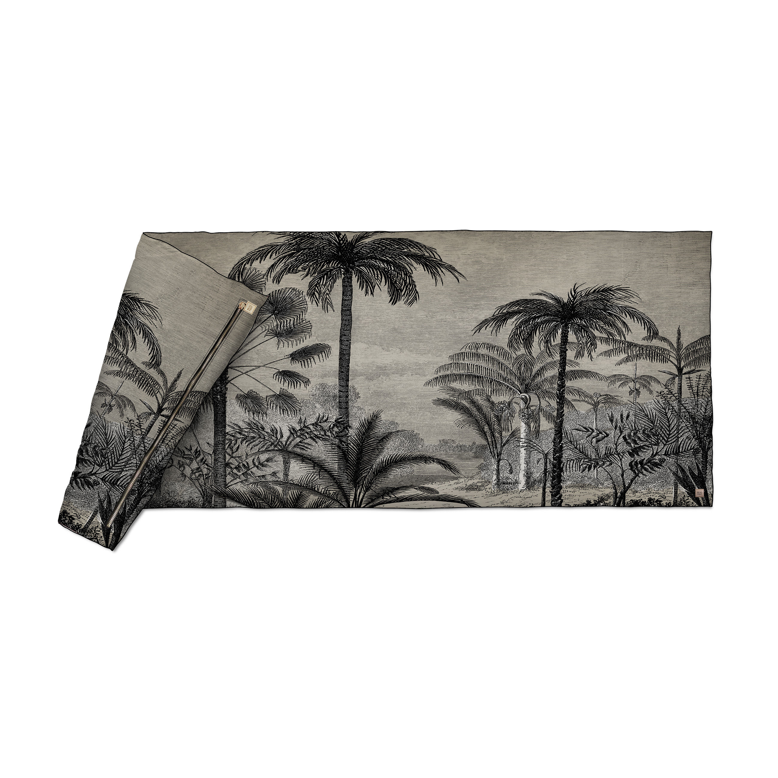 Dekoration - Wohntextilien - Tresors Plaid / Velours  - 85 x 200 cm - Beaumont - Palmen Nr. 1 / Schwarz & weiß - Gewebe, Polyesterfaser, Velours
