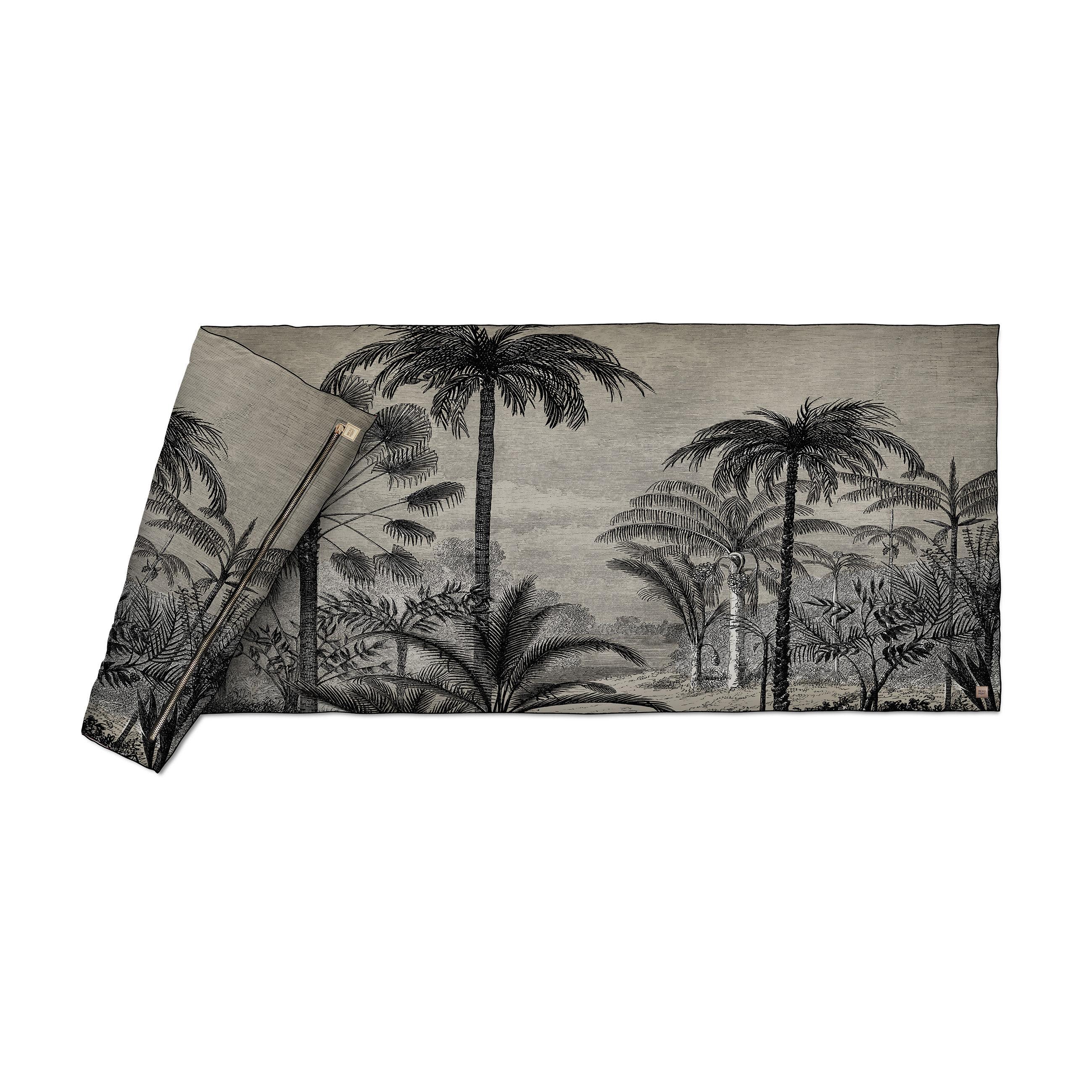 Decoration - Bedding & Bath Towels - Tresors Plaid - / Velvet - 85 x 200 cm by Beaumont - Palmiers No. 1 / Black & white - Fabric, Polyester, Velvet